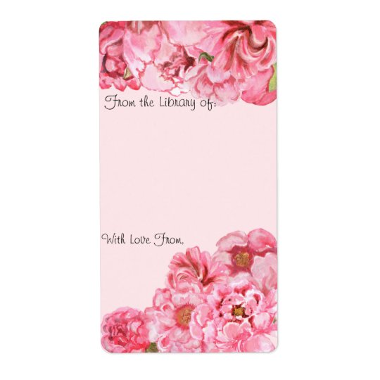 Peony Bookplate Shipping Label