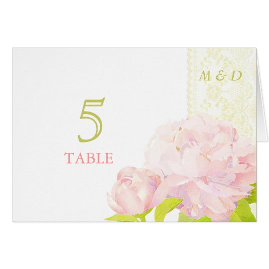 Peony Botanical Wedding Table Number