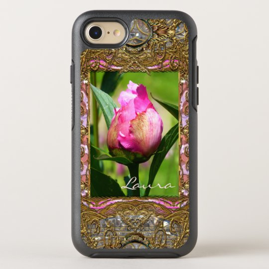 Peony Bud Elegant Floral Monogram Girly OtterBox Symmetry iPhone 7 Case