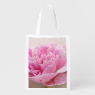 Peony closeup reusable grocery bag