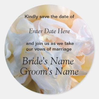 Peony & Cream Wedding or Shower Invite Classic Round Sticker