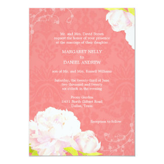 "Peony + Damask Coral Reef Color Wedding 5"" X 7"" Invitation Card"
