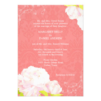 Peony + Damask Coral Reef Color Wedding Invitation