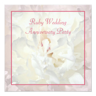 Peony floral ruby wedding invitation