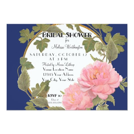 Peony Floral Wreath Bridal Shower Striped Pattern Card