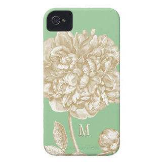 Peony Flower Botanical, Mint  and Gold Monogrammed Case-Mate iPhone 4 Cases