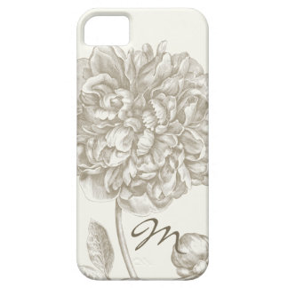 Peony Flower in Shades of White, Monogrammed iPhone 5 Case