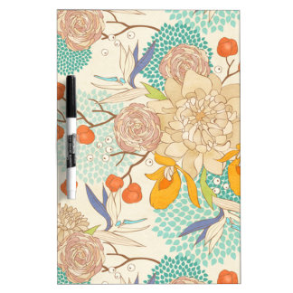 Peony Flower Pattern Dry-Erase Board