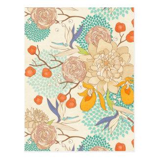 Peony Flower Pattern Postcard