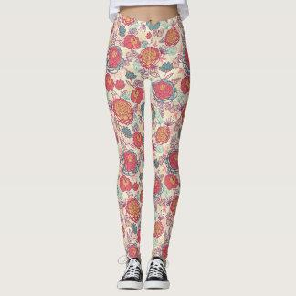 Peony flowers and leaves pattern leggings