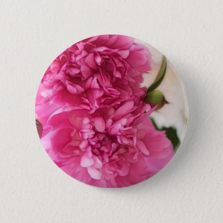 Peony Flowers Close-up Sketch 2 Inch Round Button