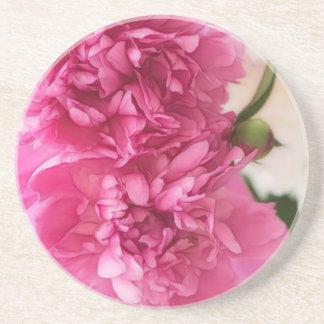 Peony Flowers Close-up Sketch Coaster