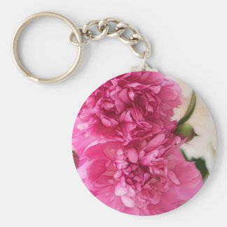 Peony Flowers Close-up Sketch Keychain