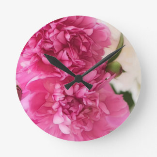 Peony Flowers Close-up Sketch Round Clock