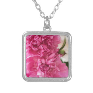 Peony Flowers Close-up Sketch Silver Plated Necklace