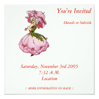 "Peony 5.25"" Square Invitation Card"