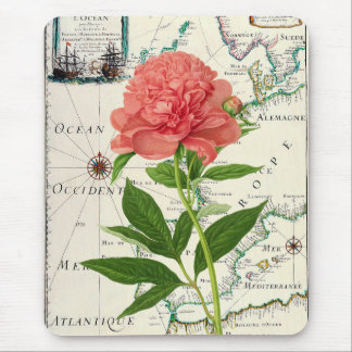 Peony Map Mouse Pad