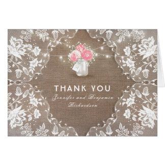 Peony Mason Jar Lace Wedding Thank You Card