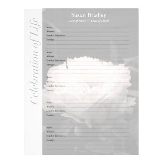 Peony Memorial Guest Book Binder Filler Pages Custom Letterhead