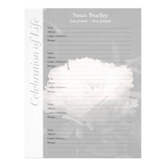 Peony Memorial Guest Book Binder Filler Pages Custom Letterhead