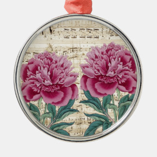 peony music Silver-Colored round ornament