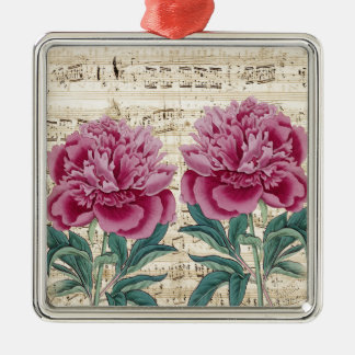 peony music Silver-Colored square ornament