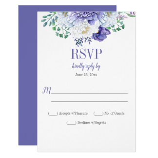 Peony Passion Purple Background Vertical RSVP Card