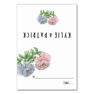 Peony pastel pink, blue floral wedding escort card