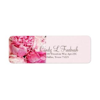 Peony pink address return label