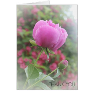 Peony Pink Peonies Floral Flower Thank You Card