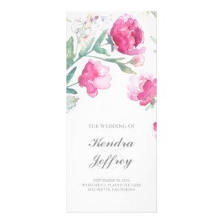 Peony Watercolor Floral Modern Wedding Programs