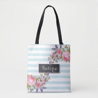Peony Watercolor Floral Personalized Tote (blue)