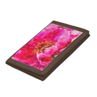 peony watercolor pink tri-fold wallet