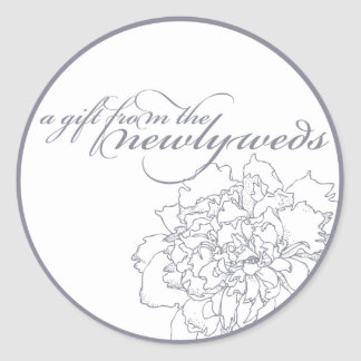 Peony Wedding Favor Sticker