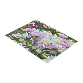 PEONY WELCOME DOORMAT/PASTEL COLORS/CUSTOMIZABLE DOORMAT