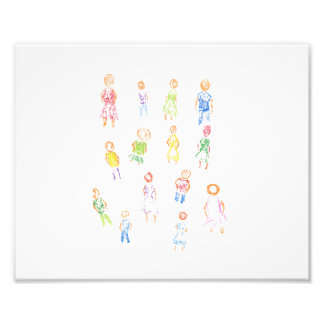 People Colorful Figures Drawing Torn paper clear b Photo Print