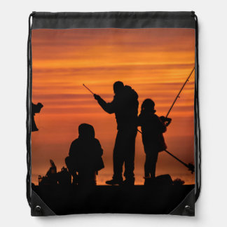People Fishing at Breakwater Drawstring Bag