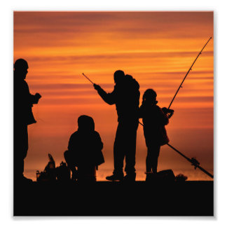 People Fishing at Breakwater Photo Print