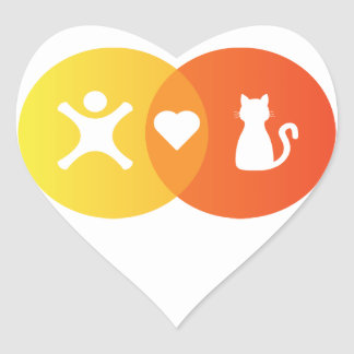 People Heart Cats Venn diagram Heart Sticker