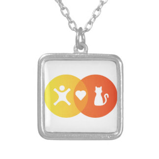 People Heart Cats Venn diagram Silver Plated Necklace