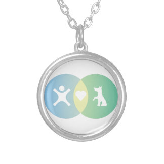 People Heart Dogs Venn diagram Silver Plated Necklace