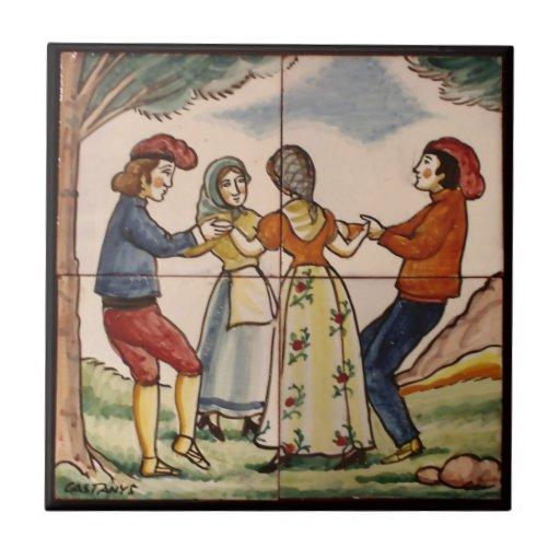 People of Spain Dancing the Sardana-Ceramic Trivet Tiles