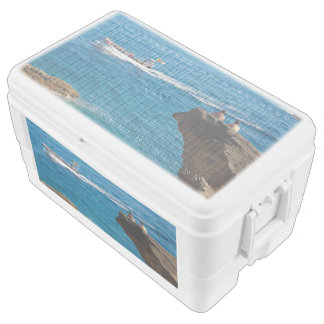 People on an islet ice chest