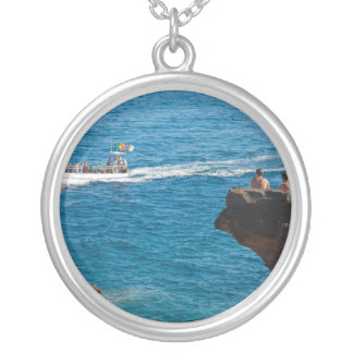 People on an islet silver plated necklace