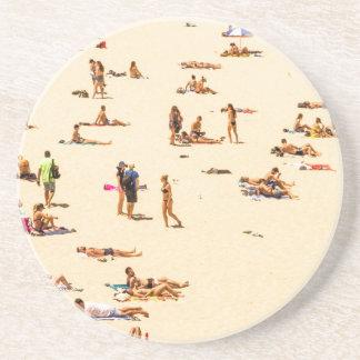 People On Beach Sandy Beverage Coasters