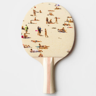 People On Beach Sandy Ping Pong Paddle