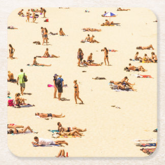 People On Beach Sandy Square Paper Coaster