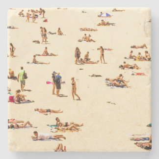 People On Beach Sandy Stone Coaster