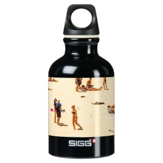 People On Beach Sandy Water Bottle