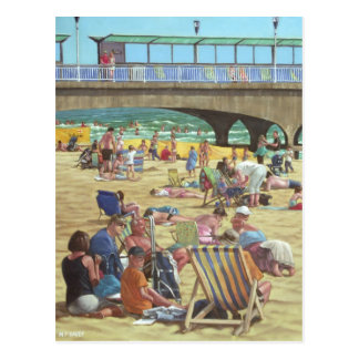 people on Bournemouth beach, Dorset, UK Postcard
